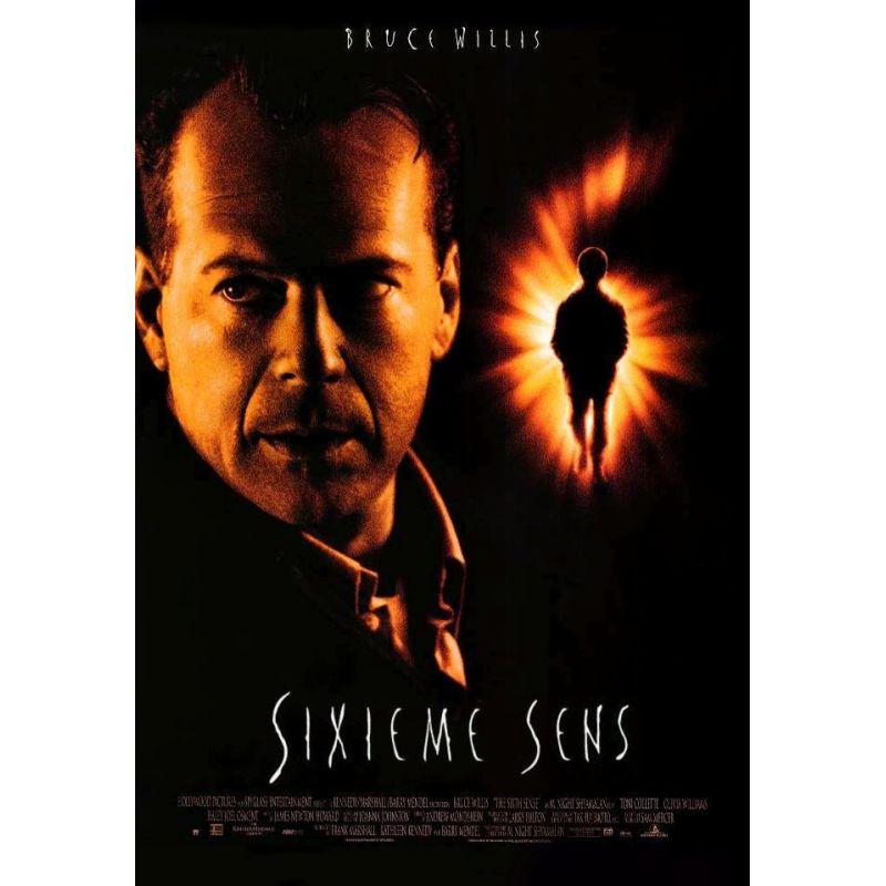 Affiche film Sixième Sens (de Manoj Night Shyamalan avec Bruce Willis)