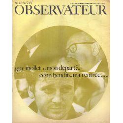 """Le Nouvel Observateur n° 207 - 28 octobre 1968 - Guy Mollet : """"mon départ ?"""" - Cohn-bendit : """"ma rentrée..."""""""