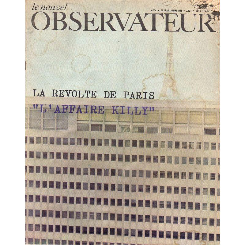 """Le Nouvel Observateur n° 174 - 13 mars 1968 - La révolte de Paris, """"L'affaire Killy"""""""