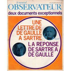 Le Nouvel Observateur n° 128 - 26 avril 1967 - Une lettre de de Gaulle à Sartre --- La réponse de Sartre à De Gaulle