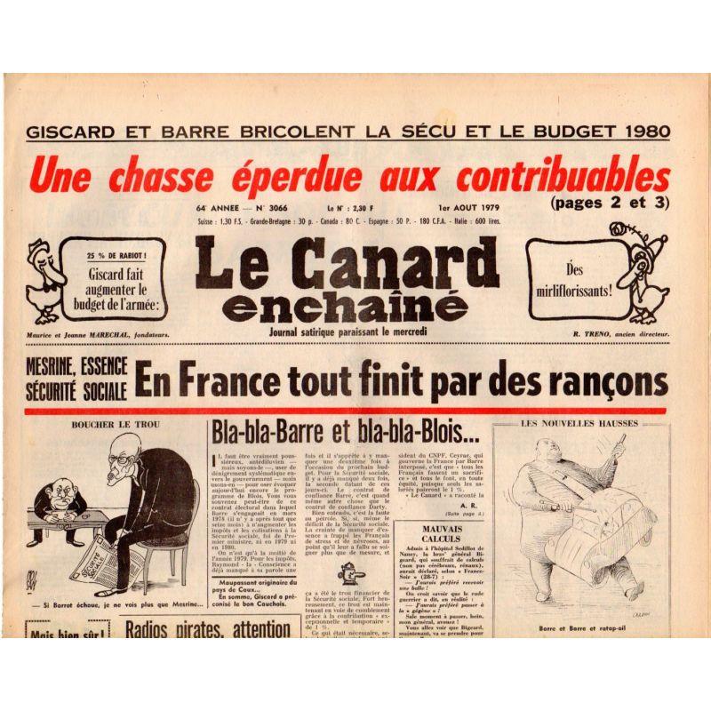 Canard Enchaîné (le) - n° 3066 - 1er août 1979
