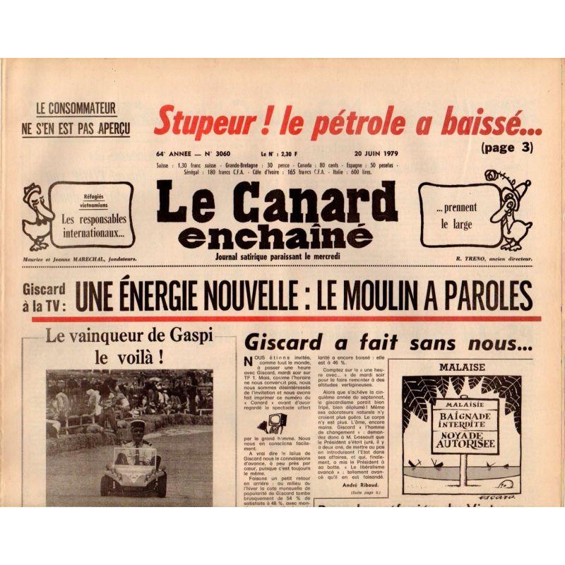Canard Enchaîné (le) - n° 3060 - 20 juin 1979 - Une énergie nouvelle : le moulin à paroles
