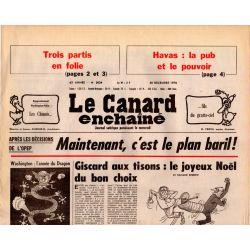 Canard Enchaîné (le) - n° 3034 - 20 décembre 1978 - Après les décisions de l'OPEP, c'est le plan baril !