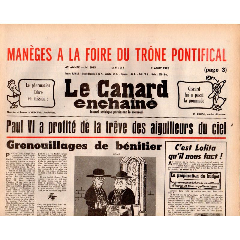 Canard Enchaîné (le) - n° 3015 - 9 aout 1978 - Paul VI a profité de la trêve des aiguilleurs du ciel