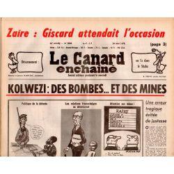 Canard Enchaîné (le) - n° 3004 - 24 mai 1978 - Kolwezi : des bombes ... et des mines - Zaïre -