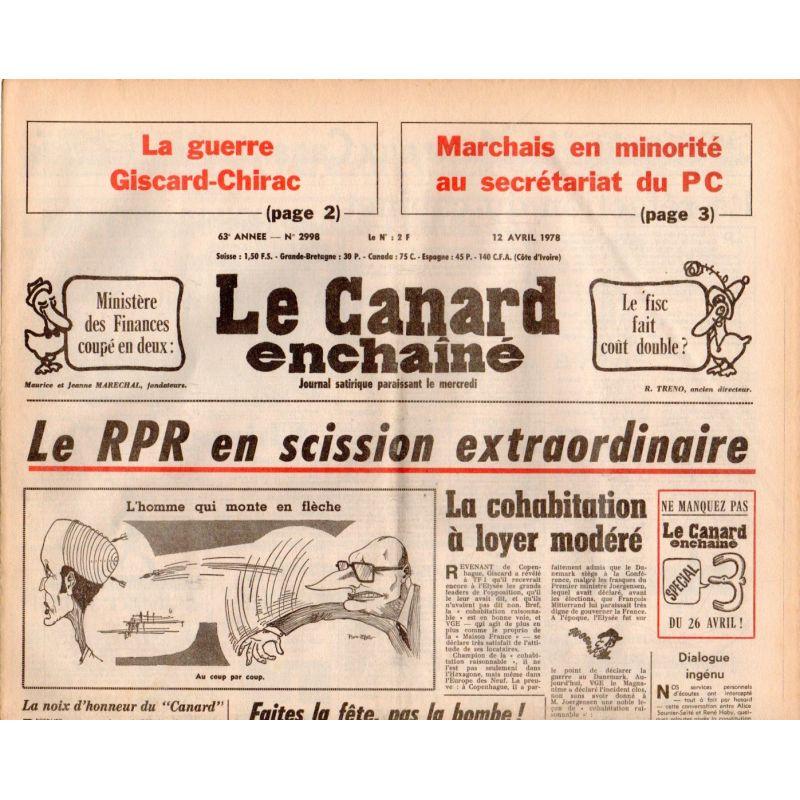 Canard Enchaîné (le) - n° 2998 - 12 avril 1978 - La guerre Giscard-Chirac