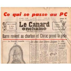Canard Enchaîné (le) - n° 2997 - 5 avril 1978 - Barre revient au charbon et Chirac prend la pelle