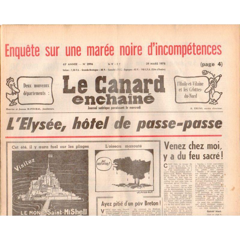 Canard Enchaîné (le) - n° 2996 - 29 mars 1978 - L'Elysée, hôtel de passe-passe