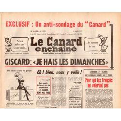 "Canard Enchaîné (le) - n° 2993 - 8 mars 1978 - Giscard : ""je hais les dimanches"""