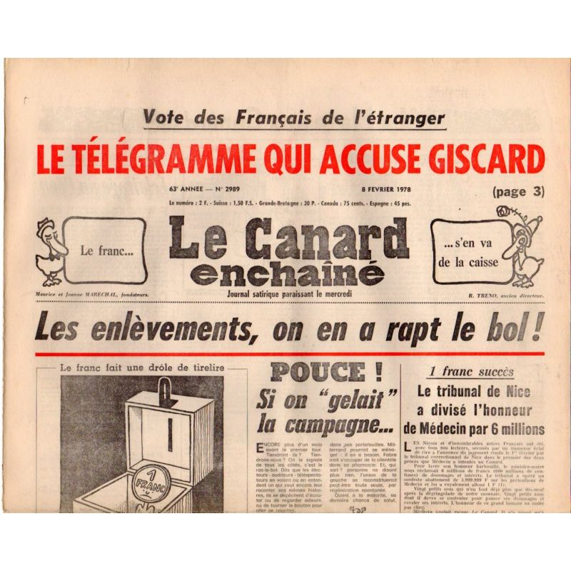 Canard Enchaîné (le) - n° 2989 - 8 février 1978 - Les enlèvements, on en a rapt le bol !