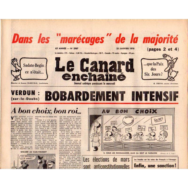 """Canard Enchaîné (le) - n° 2987 - 25 janvier 1978 - dans les """"marécages"""" de la majorité"""