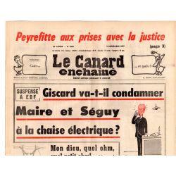 Canard Enchaîné (le) - n° 2981 - 14 décembre 1977 - Peyrefitte aux prises avec la justice