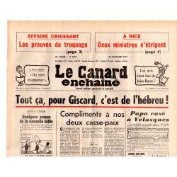 Canard Enchaîné (le) - n° 2978 - 23 novembre 1977 - Affaire Croissant, les preuves du trucage