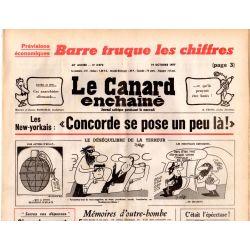 Canard Enchaîné (le) - n° 2973 - 19 octobre 1977 - Barre truque les chiffres -  Concorde à New York