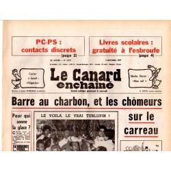 Canard Enchaîné (le) - n° 2971 - 5 octobre 1977 - Barre au charbon, et les chômeurs sur le carreau