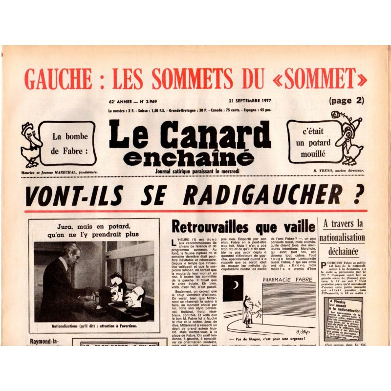 """Canard Enchaîné (le) - n° 2969 - 21 septembre 1977 - Les sommets du """"Sommet"""""""