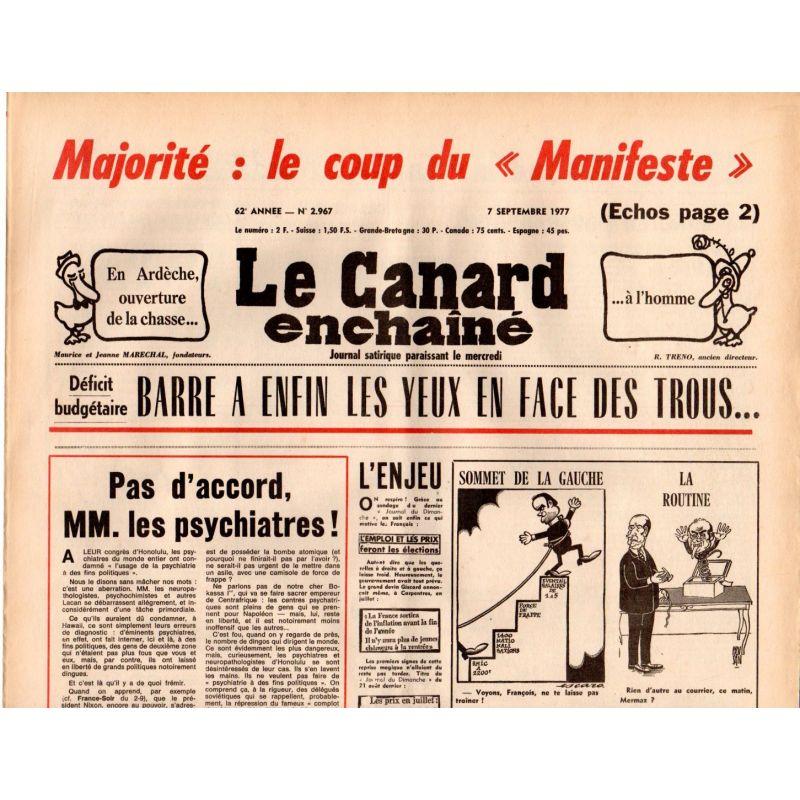 Canard Enchaîné (le) - n° 2967 - 7 septembre 1977 - Déficit budgétaire : Barre a enfin les yeux en face des trous...