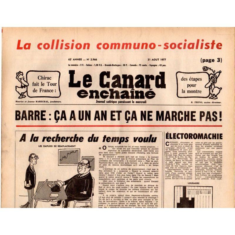 Canard Enchaîné (le) - n° 2966 - 31 aout 1977 - la collision communo-socialiste