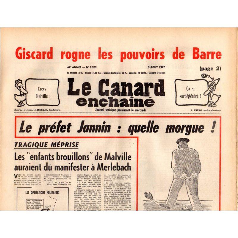 Canard Enchaîné (le) - n° 2962 - 3 aout 1977 - Le Préfet Jannin : quelle morgue !