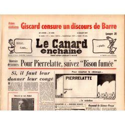 Canard Enchaîné (le) - n° 2958 - 6 juillet 1977 - Armes nucléaires : Giscard censure un discours de Barre