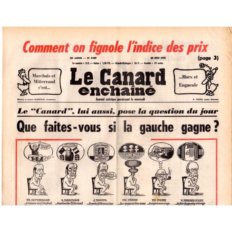 Canard Enchaîné (le) - n° 2957 - 29 juin 1977 - Comment on fignole l'indice des prix