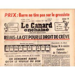 Canard Enchaîné (le) - n° 2954 - 8 juin 1977 - Reims : la CFT pour le droit de crève