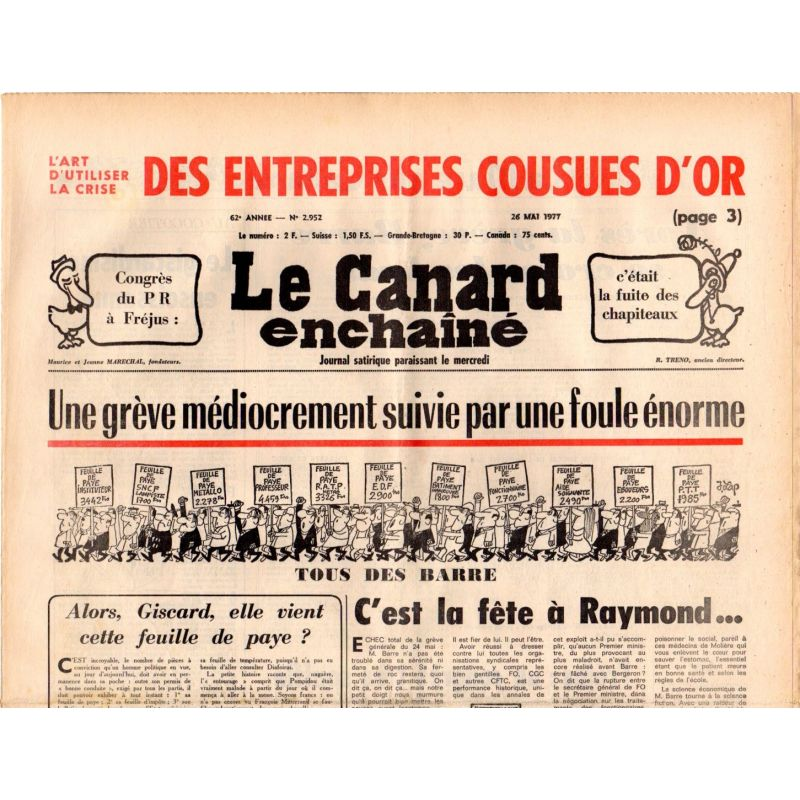 Canard Enchaîné (le) - n° 2952 - 26 mai 1977 - Une grève médiocrement suivie par une foule énorme