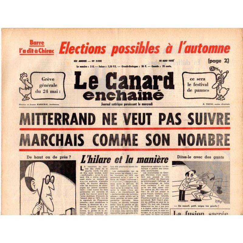Canard Enchaîné (le) - n° 2951 - 18 mai 1977 - Mitterrand ne veut pas suivre Marchais comme son nombre