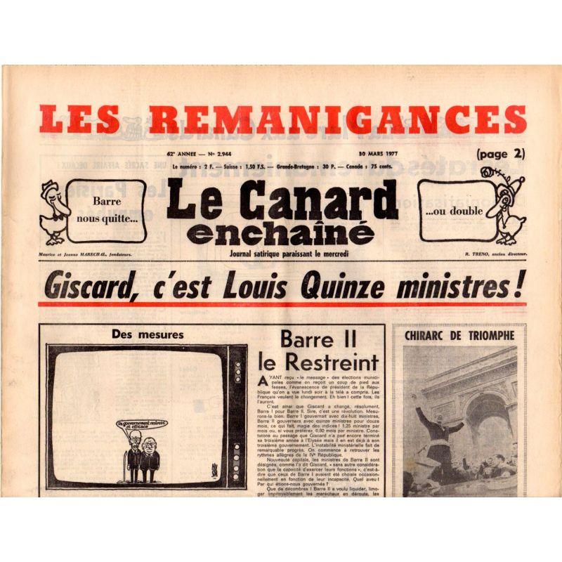 Canard Enchaîné (le) - n° 2944 - 30 mars 1977 - Giscard, c'est Louis Quinze ministres !