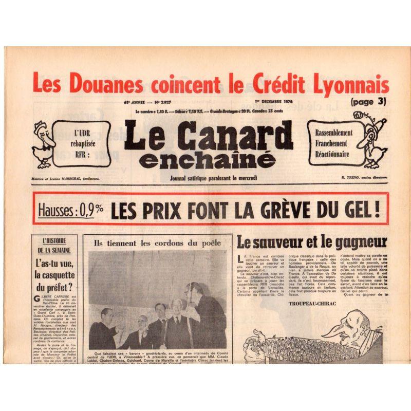 Canard Enchaîné (le) - n° 2927 - 1er décembre 1976 - Les Douanes coincent le Crédit Lyonnais