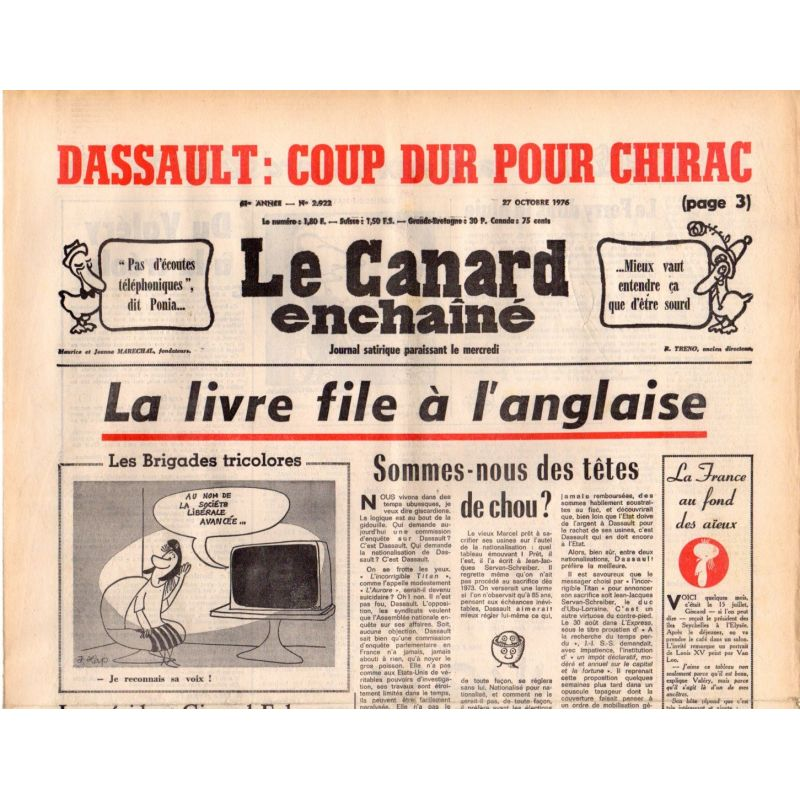 Canard Enchaîné (le) - n° 2922 - 27 octobre 1976 - La Livre file à l'anglaise