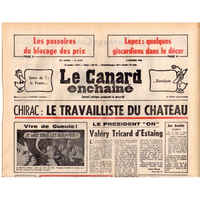 Canard Enchaîné (le) - n° 2919 - 6 octobre 1976 - Chirac : Le travailliste du Chateau