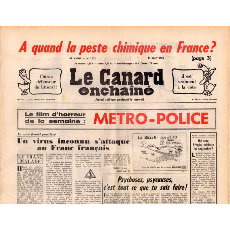 Canard Enchaîné (le) - n° 2911 - 11 aout 1976 - A quand la peste chimique en France ? - Métro-police