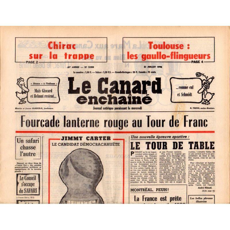 Canard Enchaîné (le) - n° 2908 - 21 juillet 1976 - Fourcade lanterne rouge au Tour de Franc