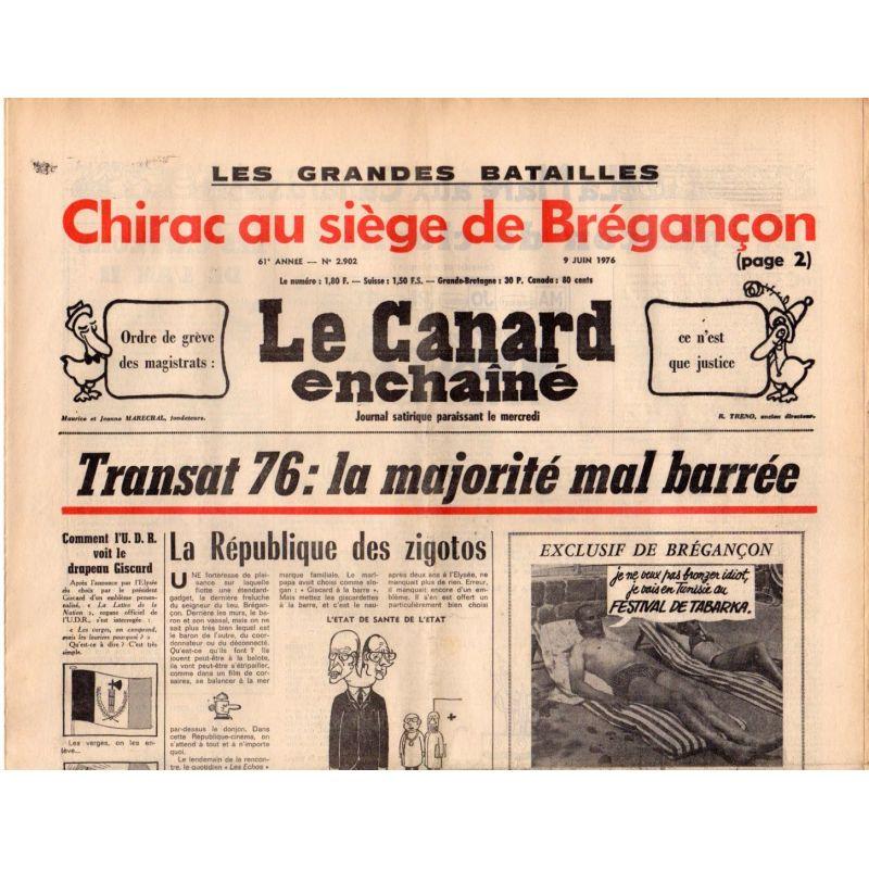 Canard Enchaîné (le) - n° 2902 - 9 juin 1976 - Transat 76 : la majorité ma barrée