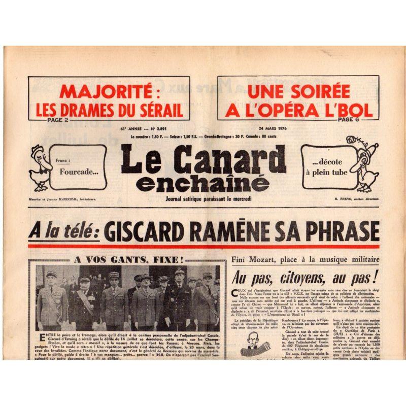 Canard Enchaîné (le) - n° 2891 - 24 mars 1976 - A la télé : Giscard ramène sa phrase