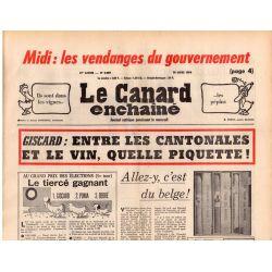 Canard Enchaîné (le) - n° 2889 - 10 mars 1976 - Giscard : entre les cantonales et le vin, quelle piquette !