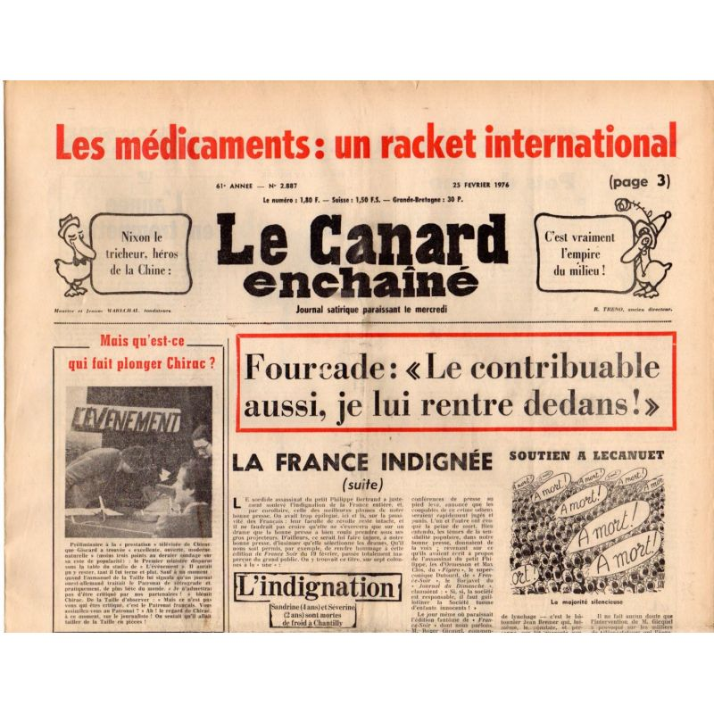 Canard Enchaîné (le) - n° 2887 - 25 février 1976 - Les médicaments : un racket international