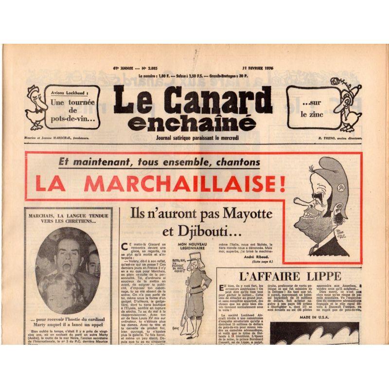 Canard Enchaîné (le) - n° 2885 - 11 février 1976 - La Marchaillaise !