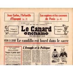 Canard Enchaîné (le) - n° 2871 - 5 novembre 1975 - Intérim en Espagne : Le caudillo est lourd dans le sacre