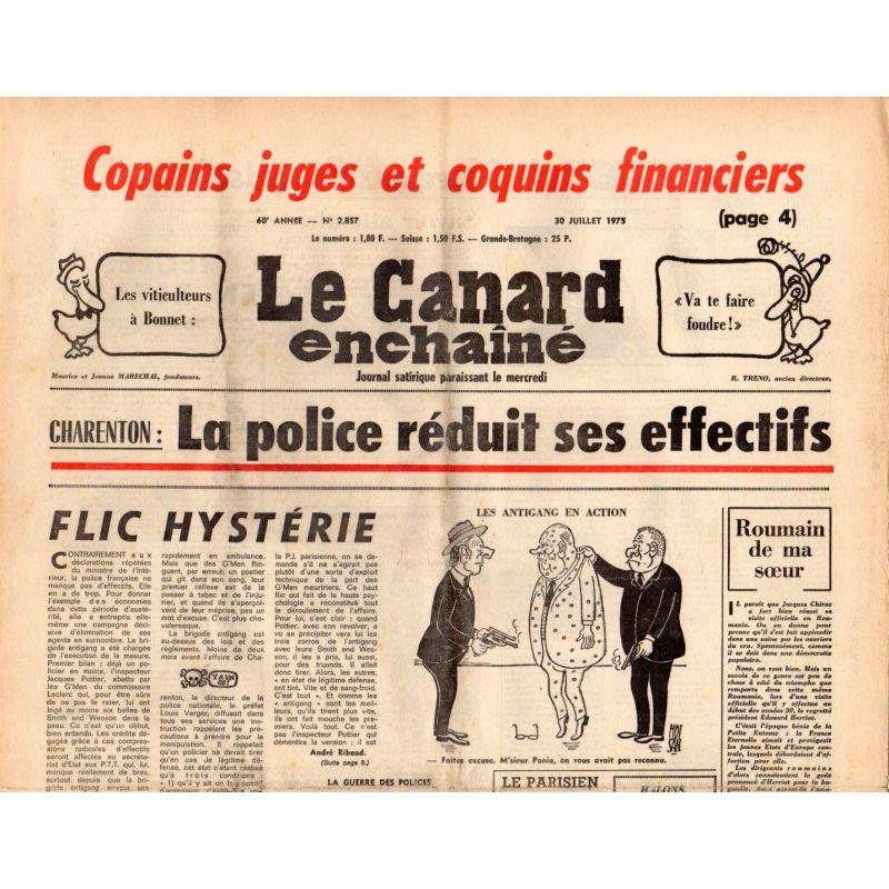 Canard Enchaîné (le) - n° 285 - 30 juillet 1975 - Charenton : La police réduit ses effectifs