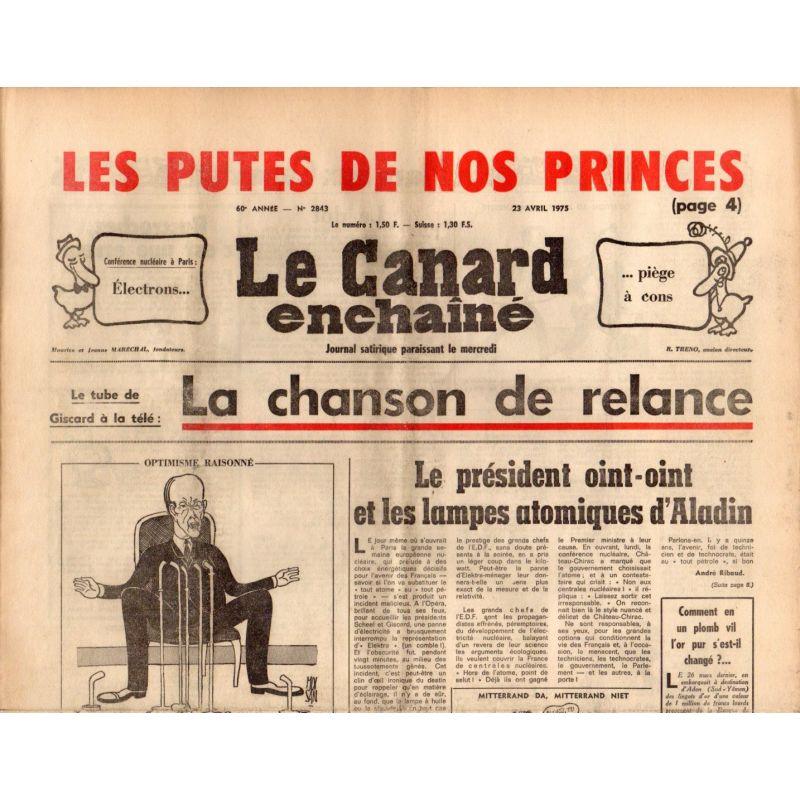 Canard Enchaîné (le) - n° 2843 - 23 avril 1975 - Les putes de nos Princes