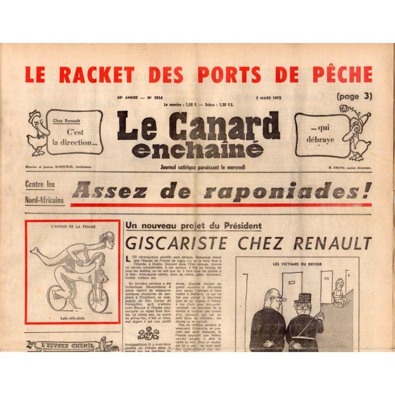 Canard Enchaîné (le) - n° 2836 - 5 mars 1975 - Le racket des ports de pêche