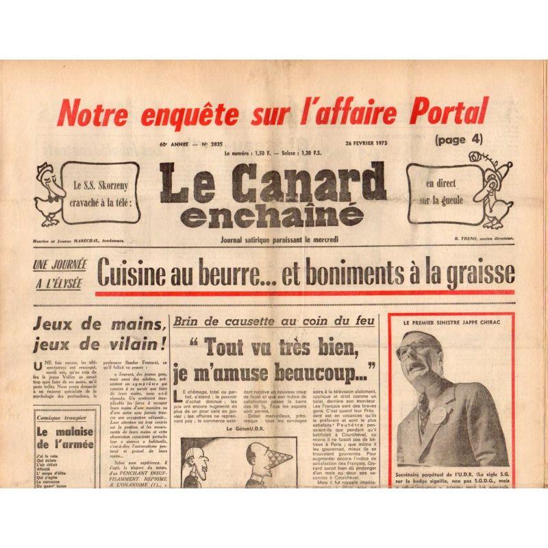 Canard Enchaîné (le) - n° 2835 - 26 février 1975 - Cuisine au beurre... et boniments à la graisse