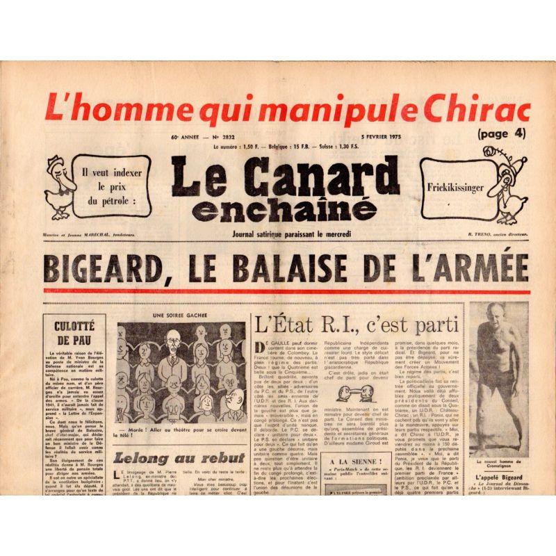 Canard Enchaîné (le) - n° 2832 - 5 février 1975 - Bigeard, le balaise de l'armée