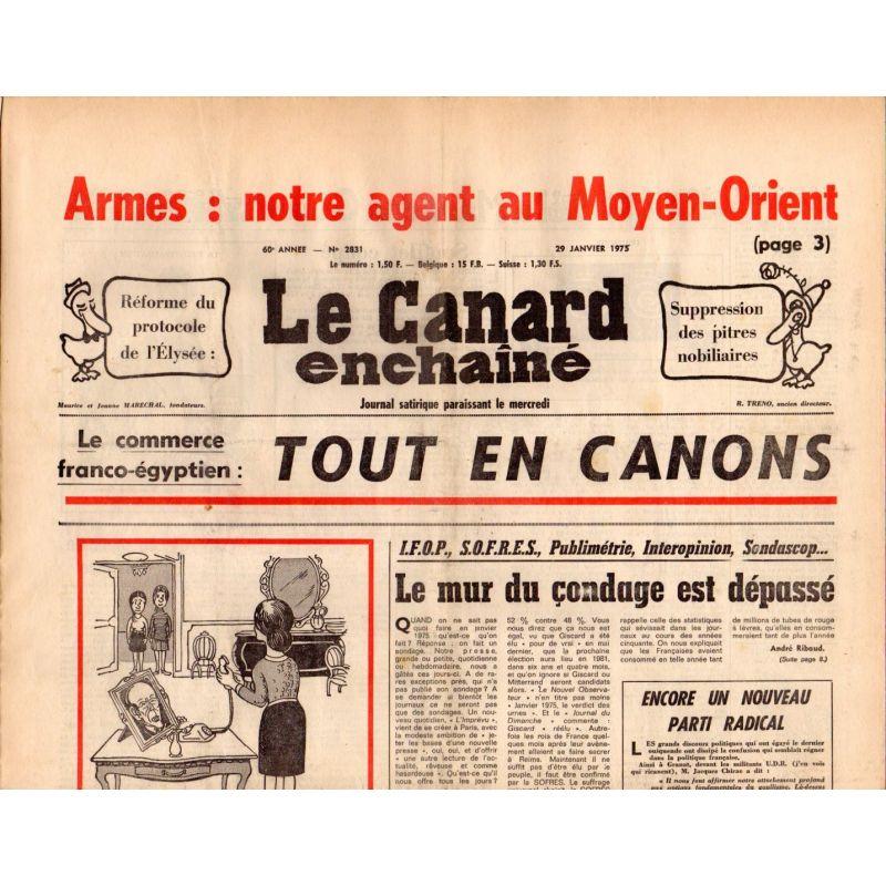 Canard Enchaîné (le) - n° 2831 - 29 janvier 1975 - Armes : notre agent au Moyen-Orient