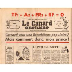 Canard Enchaîné (le) - n° 2828 - 8 janvier 1975 - Giscard veut une République populaire ?