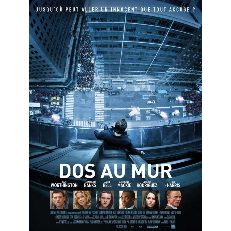 Affiche film Dos au Mur (Sam Worthington)