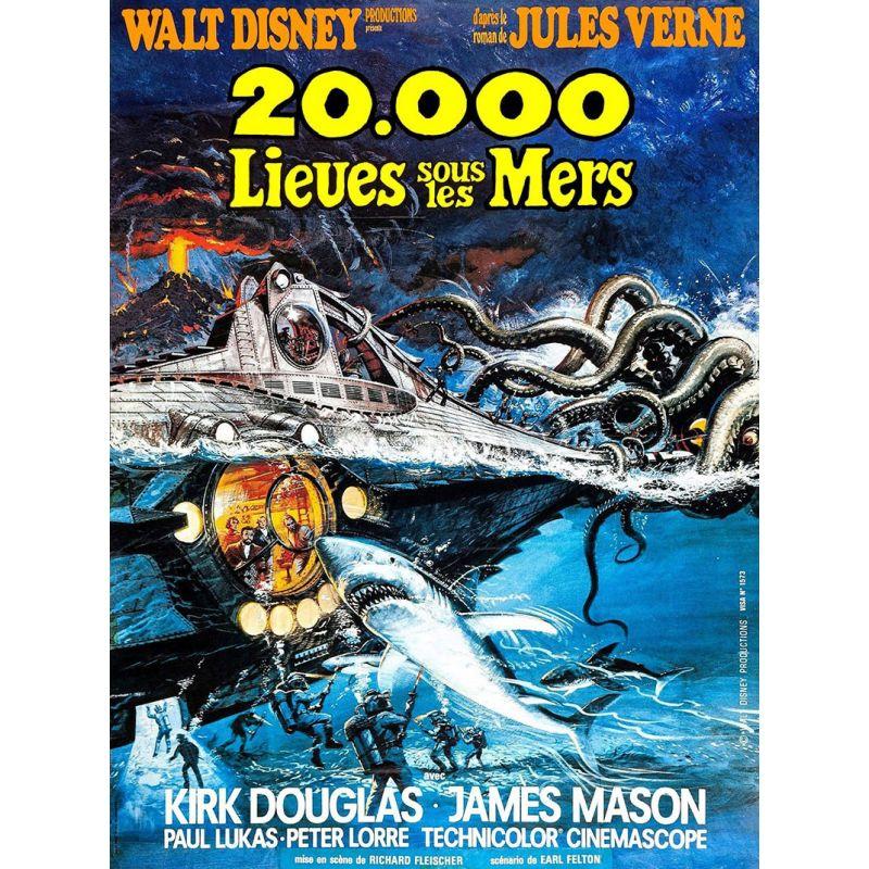 Affiche film 20 000 lieues sous les Mers (Walt Disney)