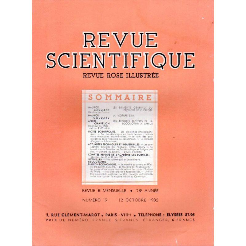 Revue Scientifique n° 19 - 73éme année - 12 octobre 1935